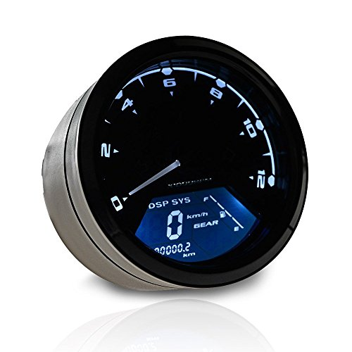 12000 RPM 199 km/h MPH Blue LED Backlit Digital LCD Motorcycle Indicator Speedometer Odometer Tachometer