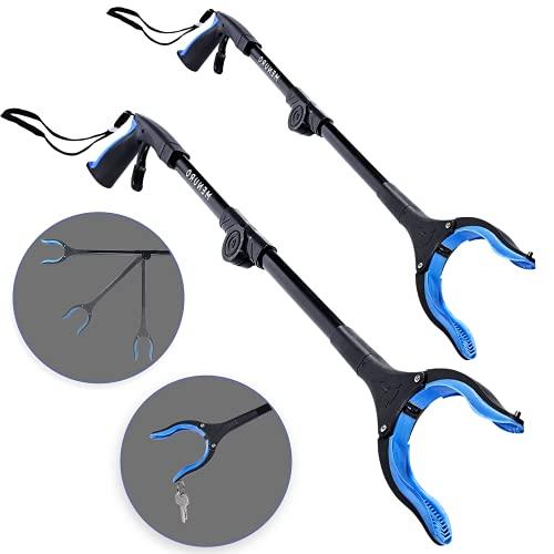 2 Stück Greifzange für Senioren MENURO - Faltbare Greifer aus Aluminium - Greifhilfe drehbarer Kopf - 80cm - Stabil - Mit Magnet