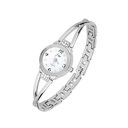 dodoro Pretty mujer niñas elegante reloj de pulsera de cuarzo, impermeable Funda de cristal para disfraz (plata)