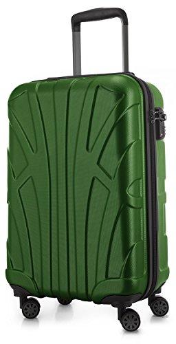 Suitline Handgepäck Hartschalen-Koffer Koffer Trolley Rollkoffer Reisekoffer, TSA, 55 cm, ca. 34 Liter, 100% ABS Matt, Grün