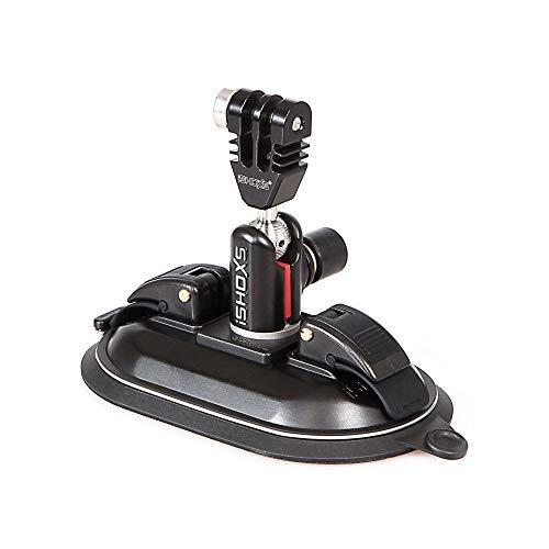iSHOXS Power Force Cup Prox, Premium Saugnapf-Halter aus Aluminium passend für GoPro und kompatible Action-Cams, schwarz, Schwarze Membran