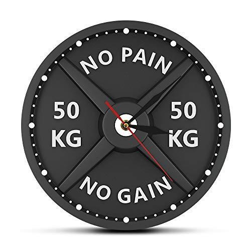 Fryymq (12 Zoll mit LED ohne Rahmen) AcryldruckBarbell 3D Wanduhr Gewichtheben Hantel Bodybuilding Wanduhr Gym Workout Geschenk