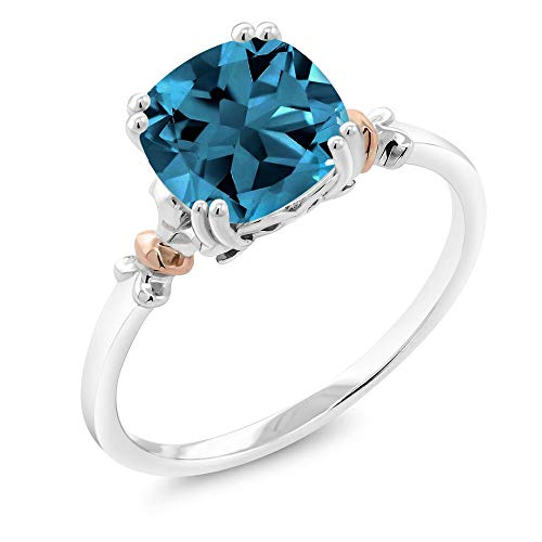Gem Stone King 925 Sterling Silver and 10K Rose Gold Women Ring London Blue Topaz 2.74 Cttw, Gemstone Birthstone, 8X8MM Cushion (Available 5,6,7,8,9) (Size 7)