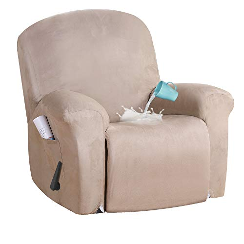 Stretch Suede Water Repellent Recliner Chair Cover Recliner Cover Recliner Slipcver with Side Pocket Pets / Dogs Friendly, Form Fit for Standard / Oversized Reclining Chair, Soft Suede Fabric, Sand