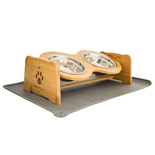 Muawo Premium Hundenapf oder Katzennapf höhenverstellbar mit Napfunterlage, 350ml pro Futternapf, Perfekter Fressnapf für Hund und Katze, Näpfe mit Futterstation aus Bambus + rutschfeste Unterlage