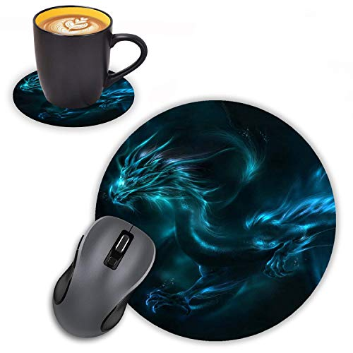 Log Zog Round Mouse Pad with Coasters Set, Blue Dragon Design Mouse Pad Non-Slip Rubber Mousepad Office Accessories Desk Decor Mouse Pads for Computers Laptop