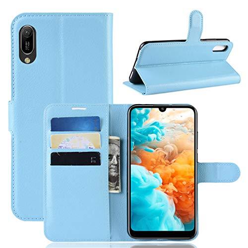 betterfon | Huawei Y6 2019 Hülle Handy Tasche Handyhülle Etui Wallet Hülle Schutzhülle mit Magnetverschluss/Kartenfächer für Y6 2019 Hellblau