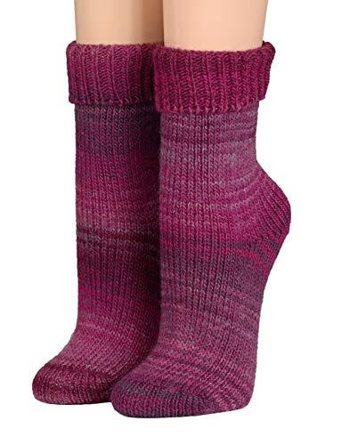 Crönert Kuschelsocken, Wollsocken Design Regenbogen Damensocken Herrensocken (35-38, pink)