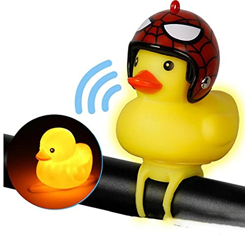 1pc Mignon Lumières Vélo Cloche À Vélo Lumières Rubber Duck Jouets Accessoires De Vélo Enfants Squeeze Adultes Horns pour Enfants Tout-Petits (Spiderman)