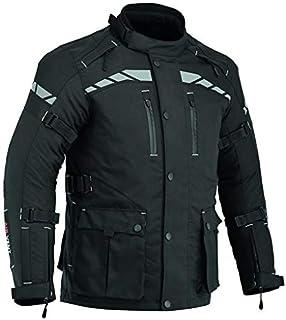 Motocicleta masculina com proteção Cordura à prova d'água Jaqueta 3/4 preta CJ-9498