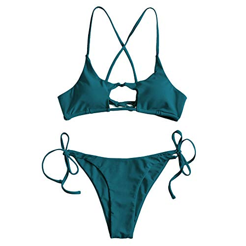 ZAFUL Damen Sommer Sexy Cut Out Bademode Swimsuit Grün M