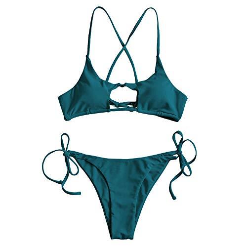 ZAFUL Damen Sommer Sexy Cut Out Bademode Swimsuit Grün S