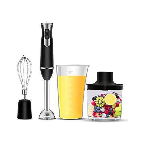 HUIXINLIANG Blender Mano de Inmersión, Blender Multifuncional Multifuncional Stick Ergonic Alojamiento Ergonómico 4 en 1 con Cuchillas de Acero Inoxidable, Vaso de Mezcla de 800 ml, Moldeado de Leche