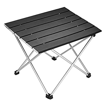 Portable Camping Table,Aluminum Folding Table Ultralight Camp Table with Carry Bag Collapsible Table Top for Picnic,Cooking,Camping,Beach,Festival (Mediuml(22'' x 6'' x 2.5''))