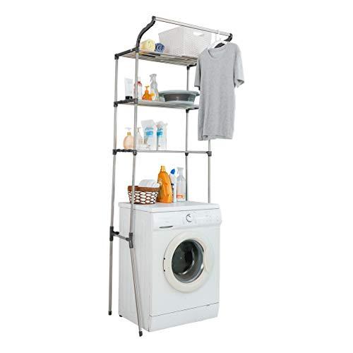 BAOYOUNI Estante de 3 niveles sobre la colada sobre el inodoro, lavadora, secadora, almacenamiento de ropa, barra de almacenamiento de ropa para baño, organización, ahorro de espacio, color gris
