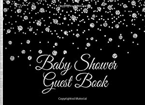Baby Shower Guest Book: Silver Glitter on Black Baby Shower Guest Book with Gift Log (Silver Glitter on Black Guest Books)