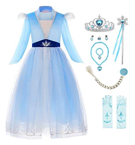 ReliBeauty Disfraz Frozen 2 Disfraz Elsa Frozen Carnaval Fiesta de Cosplay de Halloween Disfraz Princesa niña,9 años(130),con Accesorios