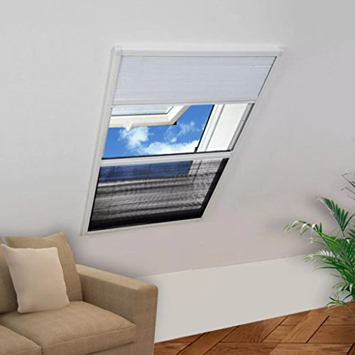 WEILANDEAL insectenwerende plissé voor ramen jaloezieën aluminium 60x80 cm vliegengaas met framekleur: wit vliegengaas