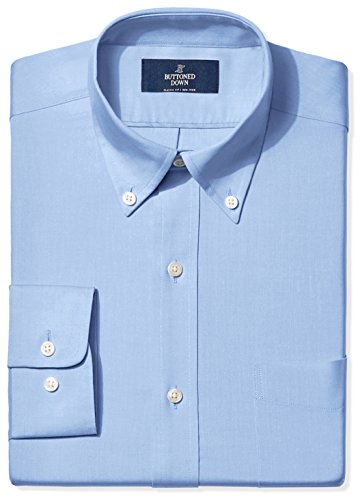 BUTTONED DOWN Men's Classic Fit Button-Collar Non-Iron Dress Shirt (Pocket), Blue, 18.5' Neck 34' Sleeve (Big and Tall)