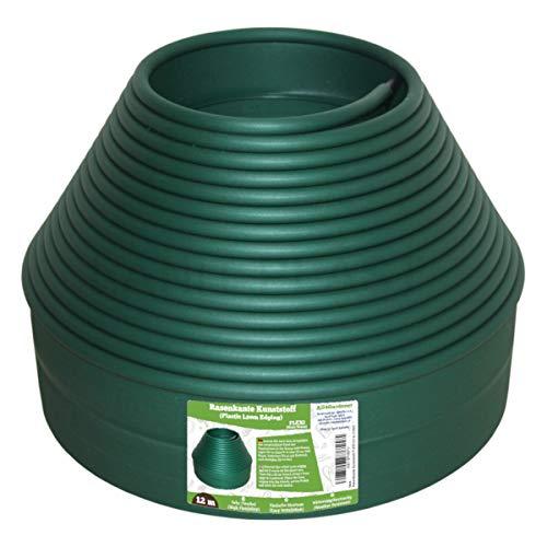 All4Gardener 12 m Bordura in Plastica per Giardino - Bordo Flessibile per Prato - Uso Semplice, Massima Flessibilità - Bordatura per Aiuola, Bordure per Aiuole, colore: Verde
