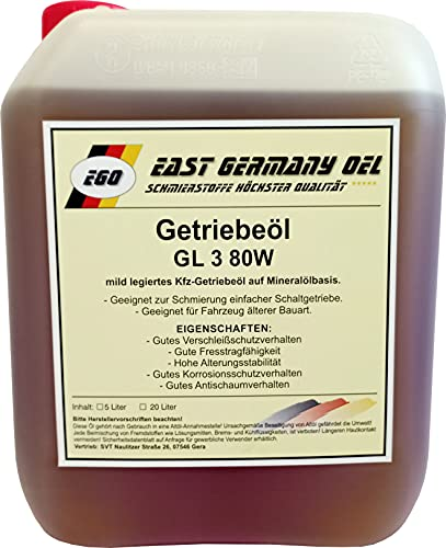 East Germany OIL Getriebeöl GL 3 SAE 80W Kanister 5 Liter