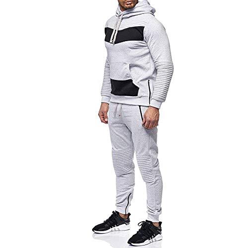Morbuy Herren Jogging Sweatshirt Hose Anzug Hip-Hop-Nähte Trainingsanzug Sweatshirt Hose Sportanzug (M, Hellgrau)