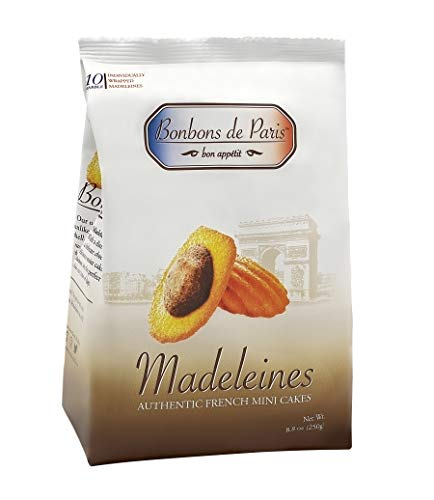 Bonbons de Paris Madeleine Cookies, Authentic French Mini Cakes, Traditional Marble French Sponge Cake, Imported from France, All Natural, Non-GMO, Fresh Baked, Individually Wrapped (8.8oz bag)