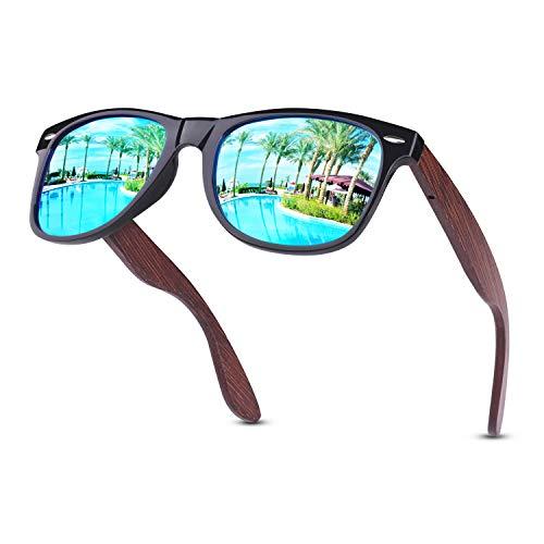 GQUEEN Sonnenbrille Herren Polarisiert Sonnenbrille Holz Herren Damen MOS08