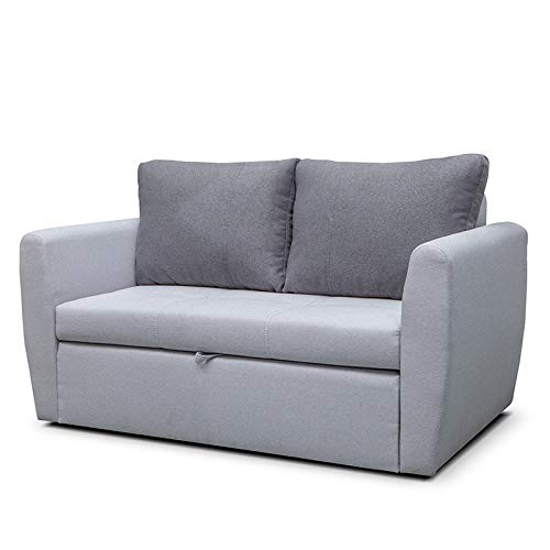 mb-moebel Sofa mit Schlaffunktion Klappsofa Bettfunktion mit Bettkasten Couch Sofagarnitur Salon Jugendzimmer SARA 120 (hellgrau)