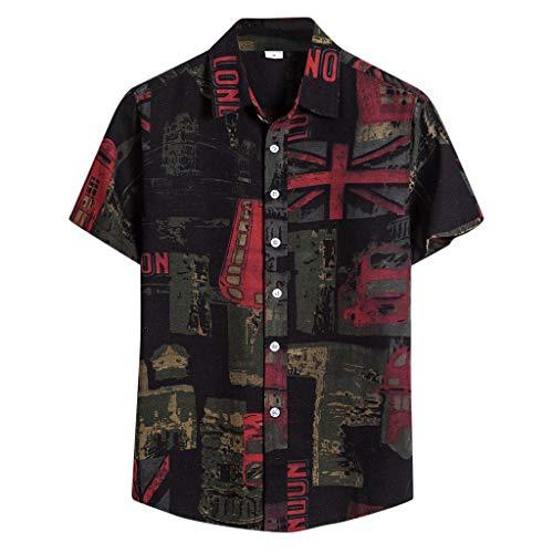 huichang Chemise D'été pour Homme, T-Shirt de Style Plage Hawaïenne Imprimé Ethnique - Revers Slim Fit Chemisier à Manches Courtes - Décontracté et Vacances - M-5XL