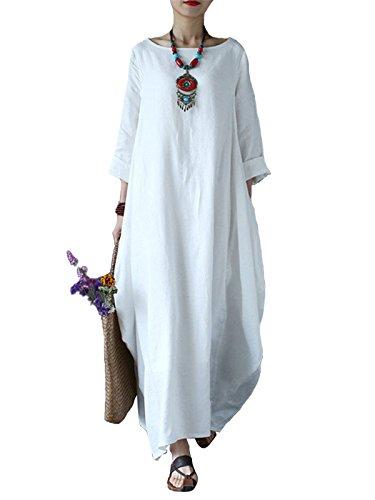 VONDA Kleider Damen Baumwolle Kleid Lang Leinenkleider Langarm Kaftan Abaya Maxikleider Oversize Mittelalter Kleid 1A-Weiß S