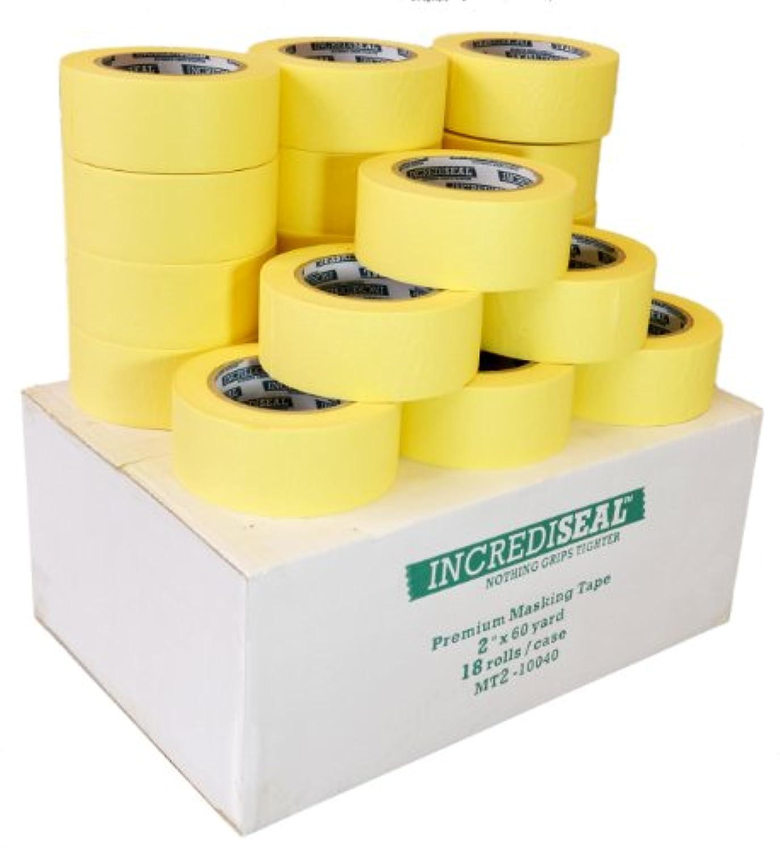 INCREDISEAL 18 Rolls Low Tack Tape, 2 Inch x 60 Yards x 4.5 Mil - Crepe / Natural