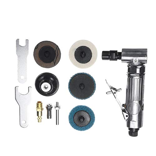 GYMNASTIKA AG-315BS Mini Portable Hand-Held 90-degree Pneumatic Grinding Machine Polisher Disc Tools Set for Trimming and Deburring Silver