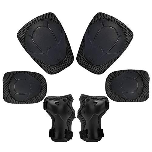 KUYOU Kinder Knieschoner Set 6 in 1 Kit Schutzausrüstung Knie Ellbogenschützer (Schwarz)