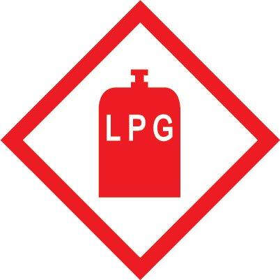 pack of 2 LPG gas sticker for caravan car motorhome campervan 100mm x 100
