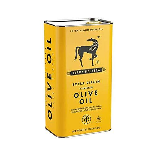 Terra Delyssa Olivenöl | Natives Olivenöl extra /Nativ | 3 Liter | Erstklassige Restaurant Qualität & kalt gepresst | 100% tunesisch | Milder Geschmack | Koscher | Zum Kochen & für die kalte Küche