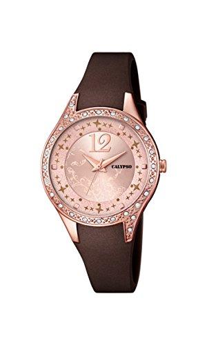 Calypso–Reloj de Cuarzo para Mujer con Oro Rosa Esfera analógica Pantalla y Correa de plástico de Color marrón K5660/3