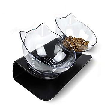 Cysincos Gamelle Chat Surélevée Double Bol de Nourriture pour Chat Chien Gamelle incliné à 15 ° Aliment pour Chat et Petits Chiens (Transparent Noir)