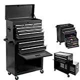 8-Drawer Large capacity Tool Chest,Rolling Tool Chest and Tool Box with 4 Wheels,2 in 1 Large Toolbox Tool Organizer with Lockable Drawers, Tool Cabinet, Keyed Locking System Toolbox Organizer (Black)