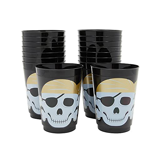 16 oz Plastic Tumbler Cups for Kids, Pirate Birthday Party Supplies (16 Pack)