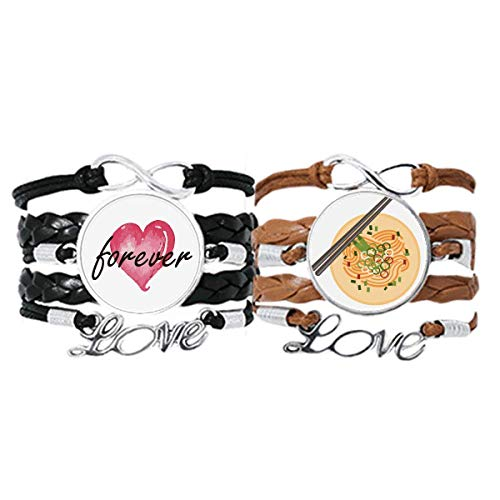 Chińskie naczynie makaron pyszne jedzenie wzór bransoletka pasek na rękę skórzana lina na zawsze miłość opaska podwójny zestaw