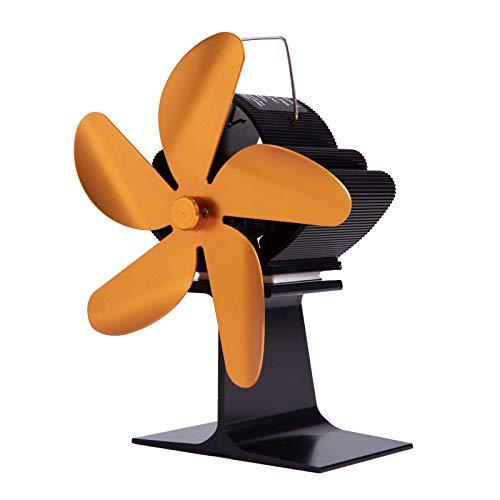 MagiDeal Ventilador de Estufa de Madera de 4 Hojas con Motor silencioso para Madera/Quemador de Troncos/Ventilador de Chimenea - de Oro