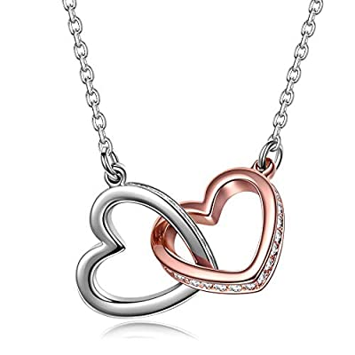 QIANSE Valentine Gifts for Her Necklaces for Women Couple Necklace Swarovski Crystal Love Heart Pendant Rose Gold White Gold Plated Birthday Anniversary Gifts Jewelry for Girlfriend Daughter Wife