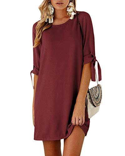 YOINS Sommerkleid Damen Kurz Tshirt Kleid Rundhals Kurzarm Minikleid Kleider Langes Shirt Lose Tunika mit Bowknot Ärmeln ,M,Aktualisierung-rotwein
