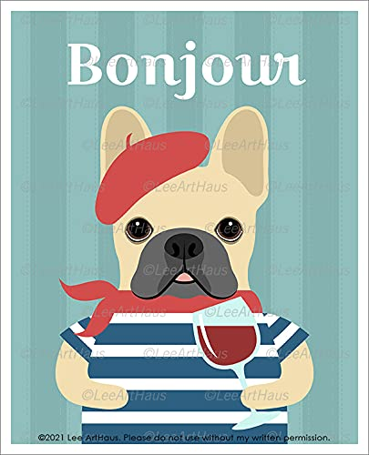 656D -'Bonjour' Fawn French Bulldog Wearing Red Beret and Drinking Wine UNFRAMED Wall Art Print by Lee ArtHaus