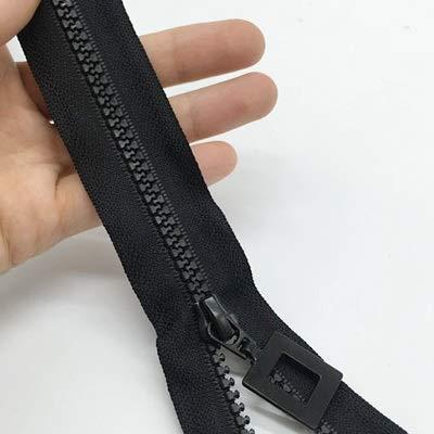 LIHAITAO Rits 2 stks 70 cm NO.5 Hars Rits DIY naai-accessoires Vierkante Ritskop Geschikt voor gebruik Kleren, Dons Jassen, slaapzakken, zwart, 70cm, Zwart