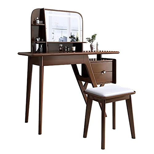 DHZYY Dressing Table Set Vanity Table Solid Wood Makeup Desk with Mirror and Comfortable Stool,Storage Drawer Makeup Table for Girls Women Bedroom Bathroom,Easy to Assemble (Color : B)