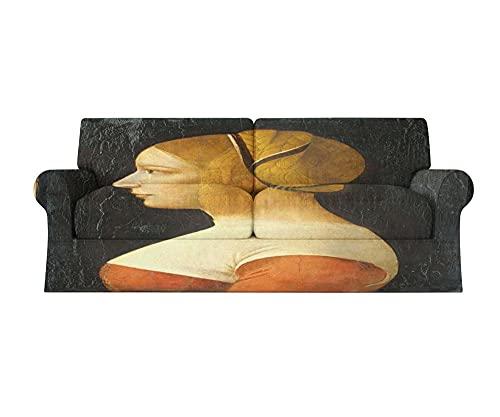 Funda Antideslizante para sofá de 1, 2, 3 y 4 plazas, Lavable y elástico, Estampado, Funda de sofá para Todas Las Estaciones 1 Pieza( Leonardo una Mujer con Sombrero Amarillo,3 plazas:185cm-235cm)