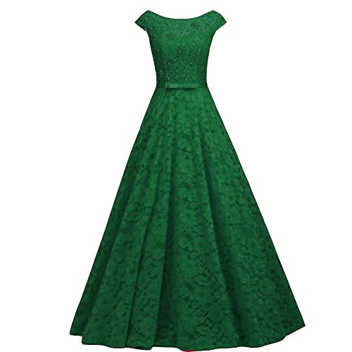 Long Bateau Cap Sleeves Lace Beaded Prom Evening Dress with Sash Emerald Green US 16