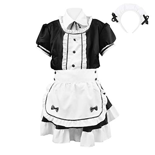 JustPe Vestido de Sirvienta Traje de Sirvienta Francesa para Mujer Disfraz de Cosplay de Anime Disfraz de Fantasía Traje de Juego de rol Vestido Lolita